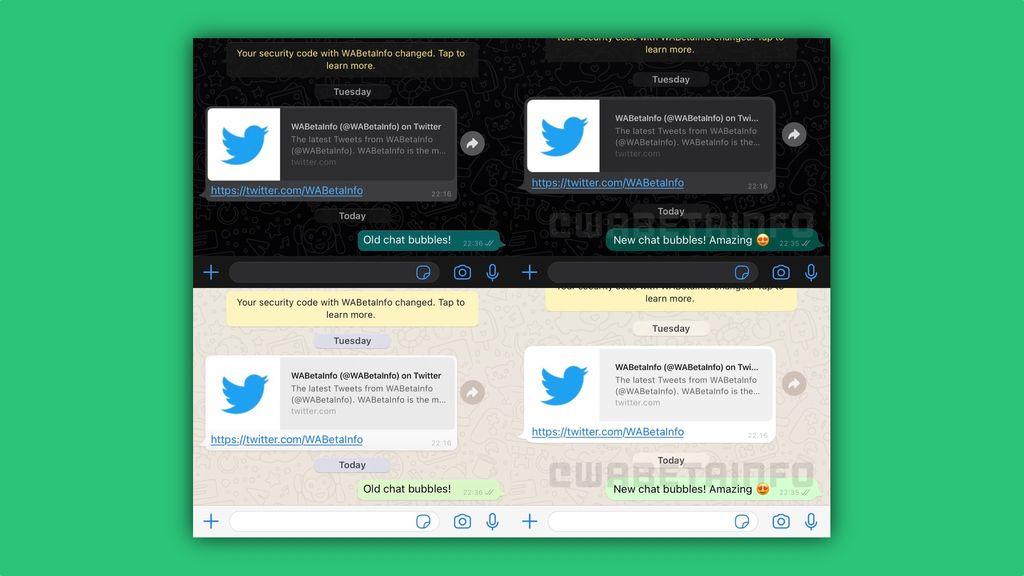 Tampilan bubble chat baru untuk pengguna WhatsApp di iOS.