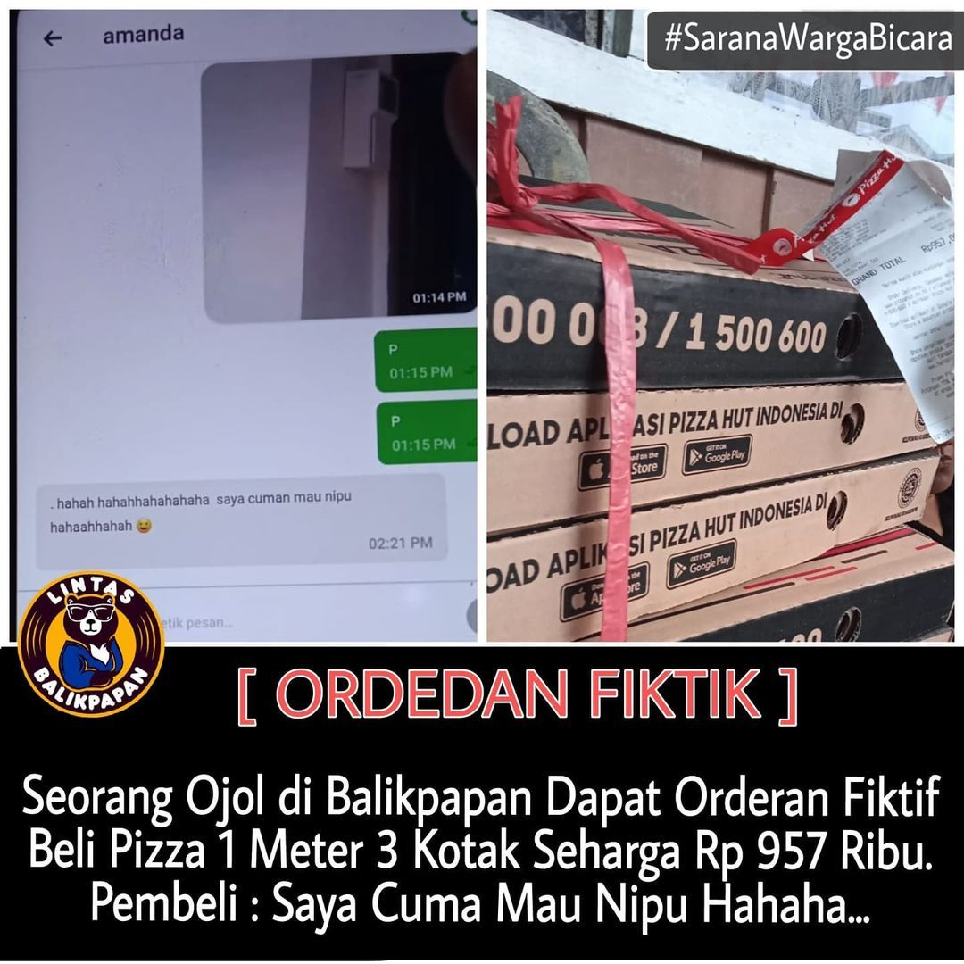 Driver Ojol kena Orderan Fiktif Beli Pizza Hampir Rp 1 juta