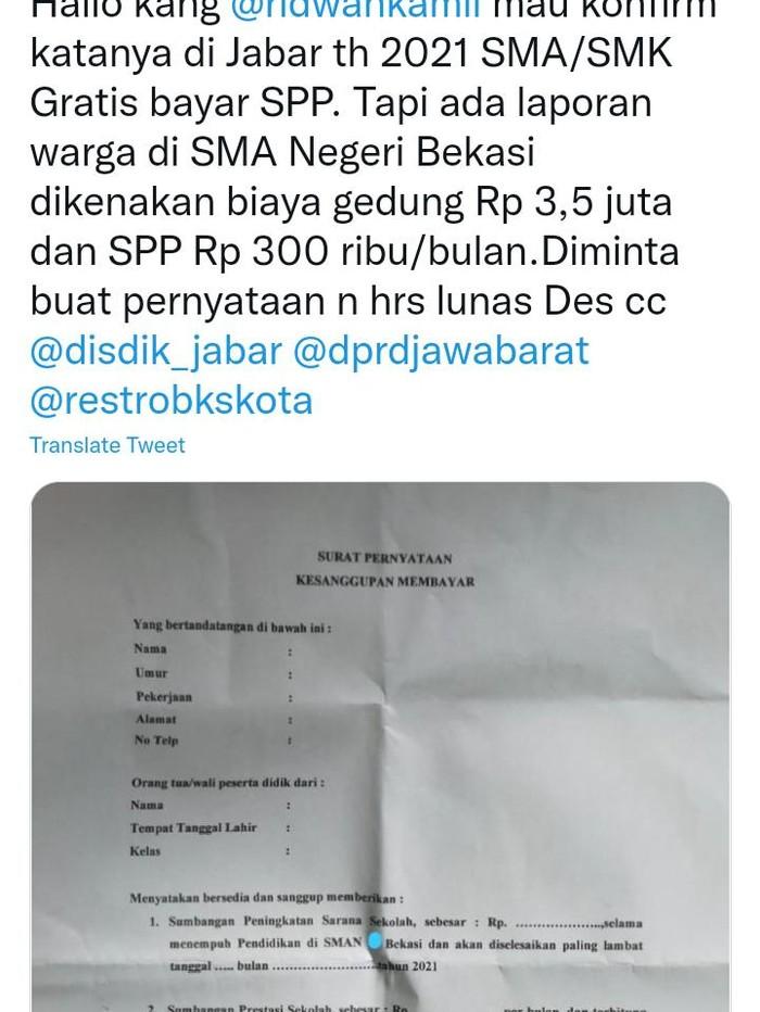 Viral surat permintaan sumbangan untuk ortu siswa dari salah satu SMAN di Bekasi