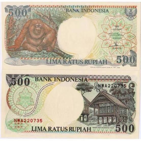 Ilustrasi uang lima ratus rupiah.