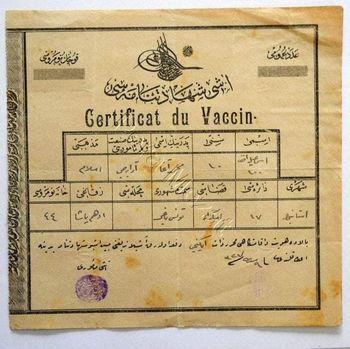 Sertifikat Vaksinasi Zaman Khalifah Usmaniyah Turki tahun 1908