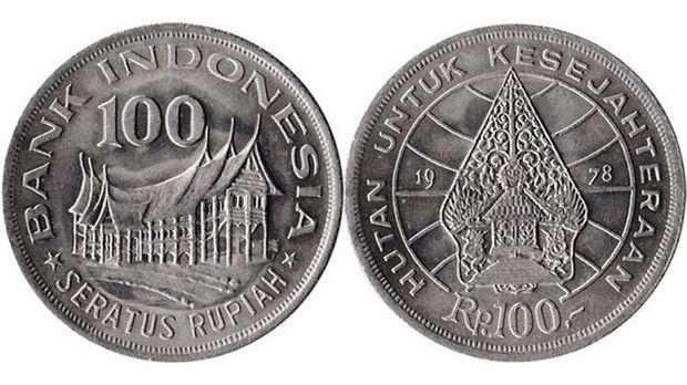 Uang koin 100 rupiah tahun 1978. (Dok: Gallery Currency Bank Indonesia)