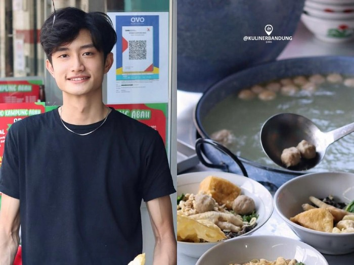 Viral penjual bakso di Bandung mirip artis Korea.
