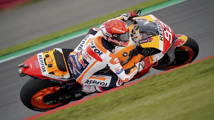 Repsol Hondas Marc Marquez in action, during the British Grand Prix MotoGP qualifying day, at Silverstone, in Towcester, England, Saturday, Aug. 28, 2021. (David Davies/PA via AP)