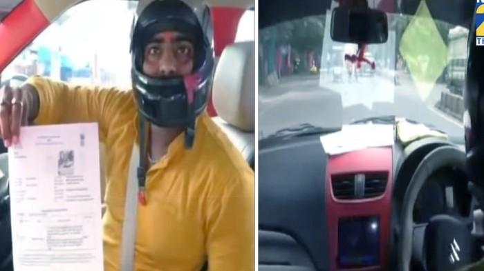 Pria ini ditilang gara-gara nyetir mobil tanpa pakai helm