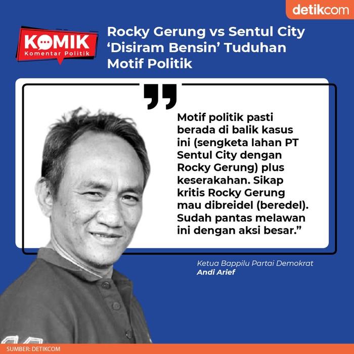 Rocky Gerung vs Sentul City 'Disiram Bensin' Tuduhan Motif Politik (Tim Infografis detikcom)