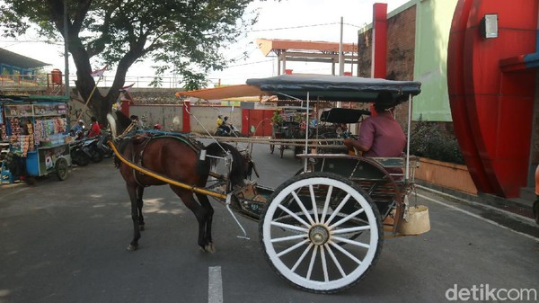 Moda transportasi Andong hingga kini masih ditemui di kawasan GOR Bung Karno, Kudus. Mereka melayani wisatawan yang hendak berjalan-jalan keliling kota Kudus. Profesi kusir andong tak luput dari hantaman pandemi Corona. (Dian Utoro Aji/detikTravel)