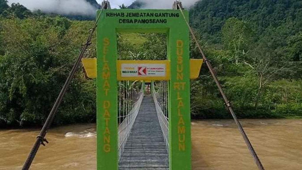 Perbaikan Jembatan Tempat Pelajar Bergantung di Mamasa Sulbar Tuntas