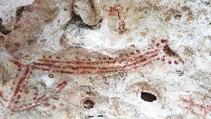 Motif gambar cadas purbakala di Pulau Kaimer, Kabupaten Maluku Tenggara, Provinsi Maluku yang ditemukan oleh Arkeolog Wuri Handoko dari Balai Arkeologi Maluku pada 2018. (ANTARA/HO-Balai Arkeologi Maluku)