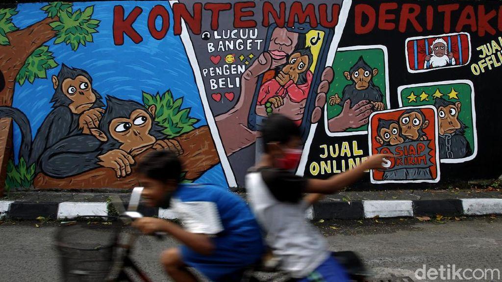 Mural Perdagangan Monyet Mejeng di Yogyakarta