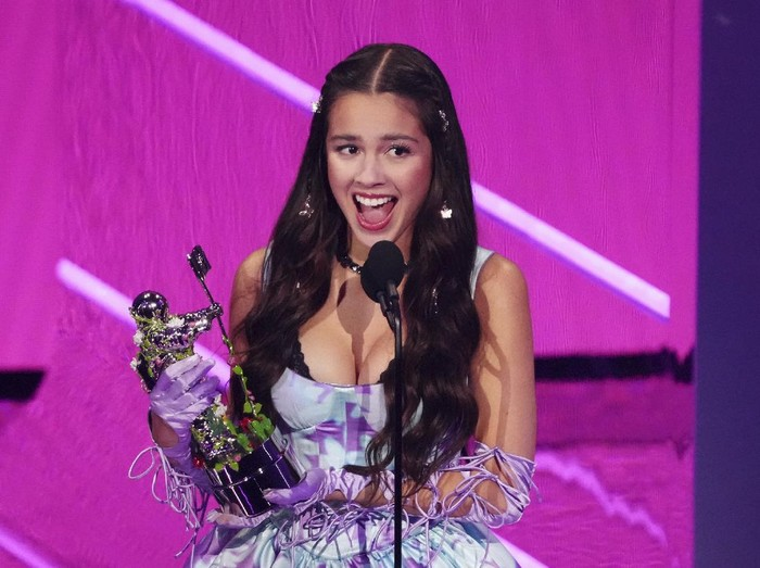 Olivia Rodrigo performs Good 4 U at the MTV Video Music Awards at Barclays Center on Sunday, Sept. 12, 2021, in New York. (Photo by Charles Sykes/Invision/AP)