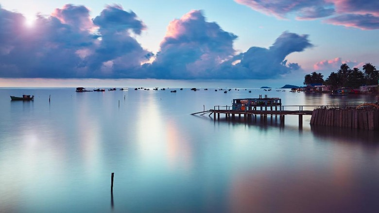 Phu Quoc island at the sunrise. Fishing village in popular travel destination in Vietnam.