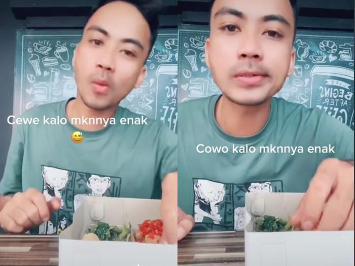 Ngakak! Pria Ini Parodikan Reaksi Cewek vs Cowok saat Makan Makanan Enak