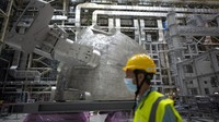A part of the cryostat component of the ITER machine is pictured in Saint-Paul-Lez-Durance, France, Thursday, Sept. 9, 2021. Scientists at the International Thermonuclear Experimental Reactor in southern France took delivery of the first part of a massive magnet so strong its American manufacturer claims it can lift an aircraft carrier. (AP Photo/Daniel Cole)