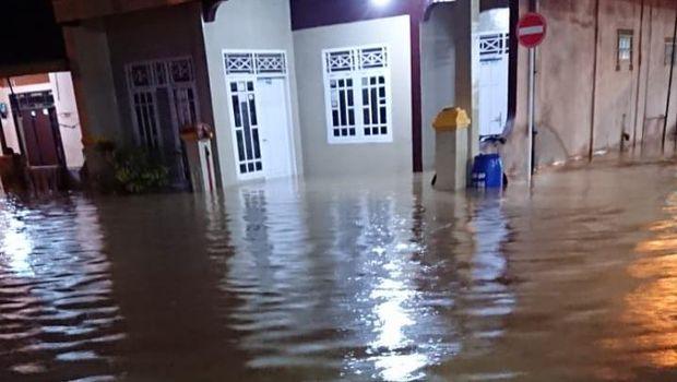 Banjir di Muara Ciujung Timur, Rangkasbitung, Lebak, Banten
