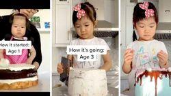 Bocah 3 Tahun Ini Sudah Jago Buat Kue dan Viral di TikTok