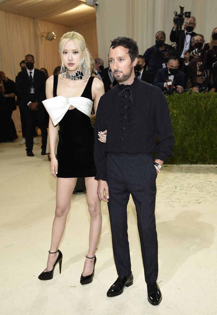 Rose, left, and Anthony Vaccarello attend The Metropolitan Museum of Arts Costume Institute benefit gala celebrating the opening of the