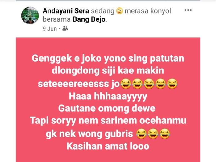 Anggota DPRD Magetan, Joko Suyono, melaporkan akun Facebook Andayani Sera ke Polda Jatim. Ia merasa nama baiknya tercemar setelah akun tersebut menyebut dirinya punya anak dari selingkuhan.
