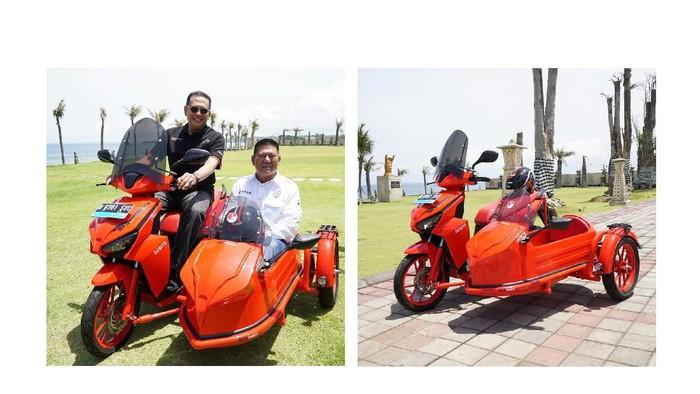 Ketua MPR RI Bambang Soesatyo mejeng di atas motor listrik Gesits bergaya sespan