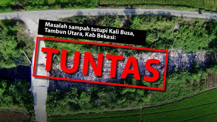 Masalah sampah tutupi badan sungai di Kali Busa sudah tuntas. (Repro Tim Infografis detikcom dari foto karya Fakhry Hermansyah-Antara Foto)