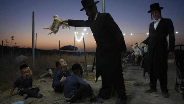 Seorang pemuda Yahudi Ultra-Ortodoks memegang seekor ayam dalam ritual Kaparot di Bnei Brak, Israel. AP Photo/Oded Balilty
