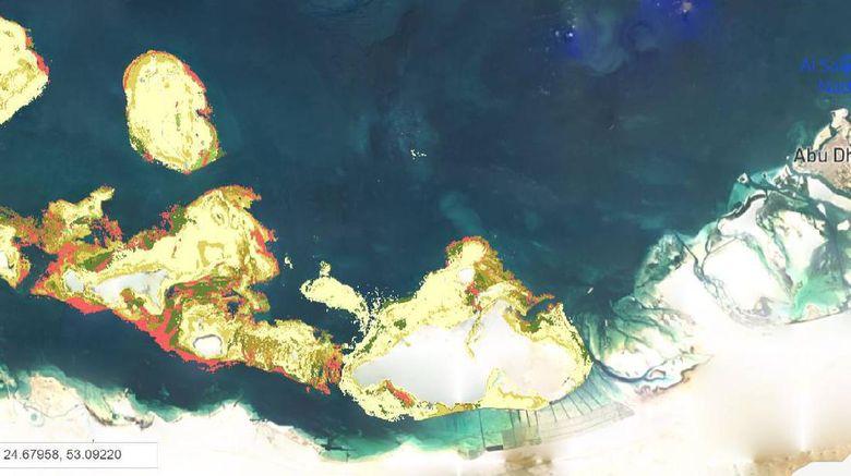 Peta terumbu karang di Abu Dhabi