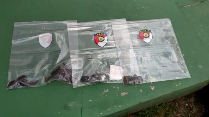 Barang bukti pelemparan bom molotov ke rumah pejabat Kemenkum HAM Riau (Raja-detikcom)
