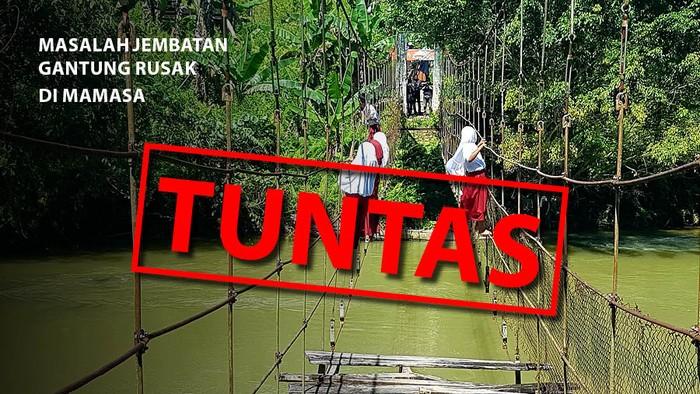 Masalah jembatan gantung Mamasa yang dulu rusak kini tuntas. (Repro Tim Infografis detikcom)