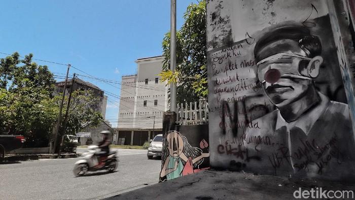 Mural mirip Presiden Jokowi di Pangkalpinang.