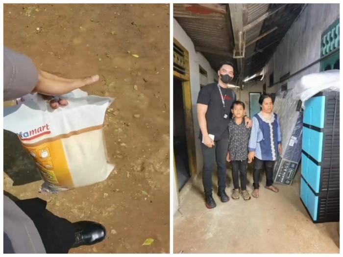 Mulia! Polisi Ini Beri Bantuan Sembako untuk Pedagang Kerupuk Tunanetra