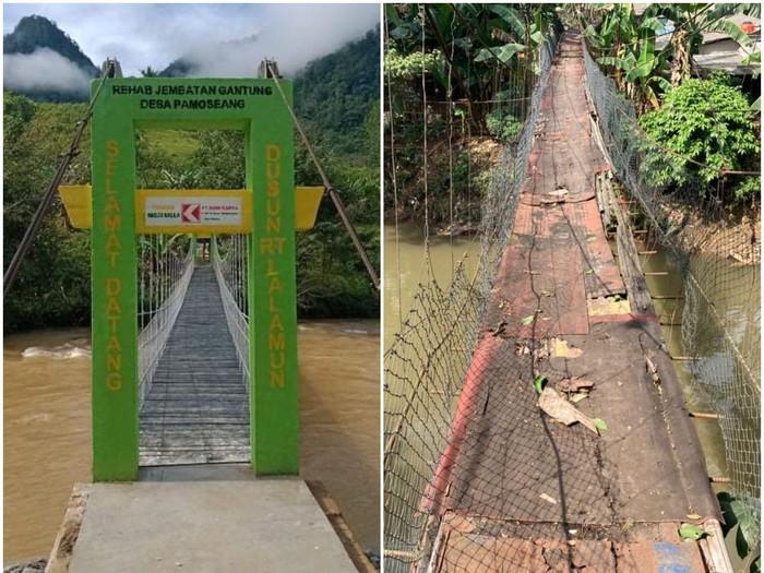Jembatan gantung di Mamasa dan jembatan gantung di Srengseng Sawah Jaksel. (Repro detikcom)