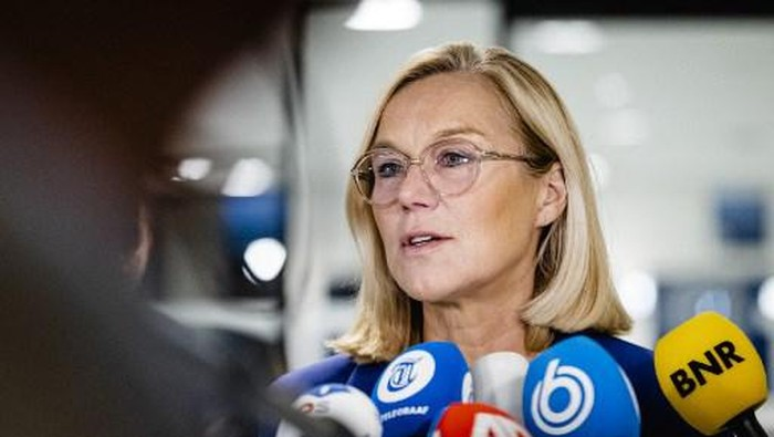 Outgoing Minister Sigrid Kaag of Foreign Affairs (D66) speaks to the press as she resigns at the House of Representatives in the Hague, on September 16, 2021. - She did so after the House of Representatives submitted a motion of censure because of the chaotic evacuation from Afghanistan. (Photo by Sem van der Wal / ANP / AFP) / Netherlands OUT