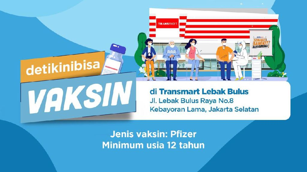 Vaskin Pfizer Kini Hadir di Transmart Lebakbulus, Daftar di Sini!