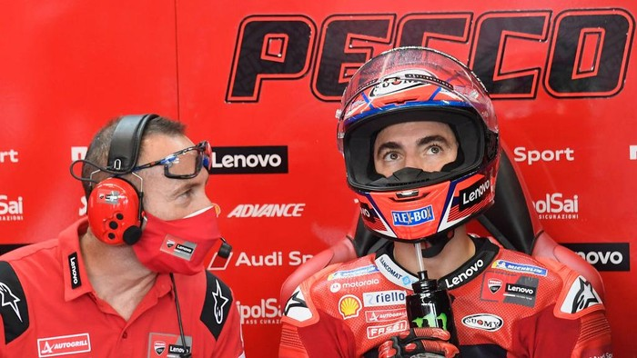 MISANO ADRIATICO, ITALY - SEPTEMBER 17: Francesco Bagnaia of Italy and Ducati Lenovo Team looks on in box during the MotoGP Of San Marino - Free Practice at Misano World Circuit on September 17, 2021 in Misano Adriatico, Italy. (Photo by Mirco Lazzari gp/Getty Images)