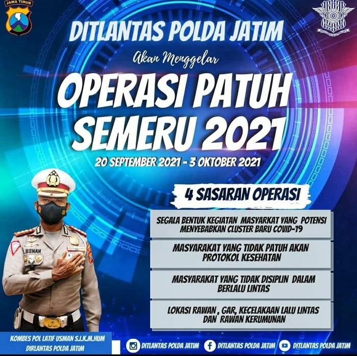 Polda Jatim bakal menggelar Operasi Patuh Semeru mulai 20 September hingga 3 Oktober 2021. Ada empat poin sasaran utama, dalam operasi yang digelar selama 14 hari itu.