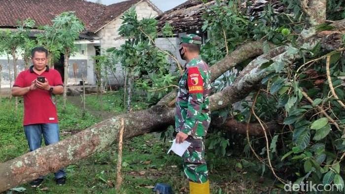 Puting beliung menerjang Dusun Sumberjo, Desa Wringinagung, Kecamatan Gambiran, Banyuwangi. Ada 35 rumah yang rusak parah hingga sedang.