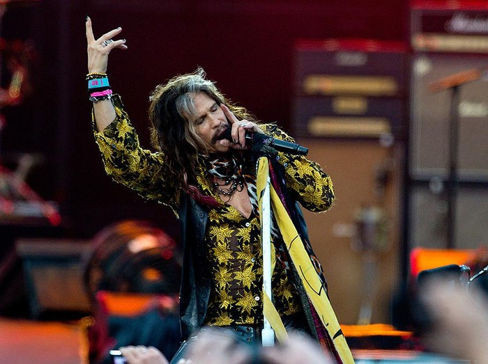 LONDON, ENGLAND - JUNE 28:  Steven Tyler of Aerosmith performs on Day 1 of the Calling Festival at Clapham Common on June 28, 2014 in London, England.  (Photo by Ben A. Pruchnie/Getty Images)