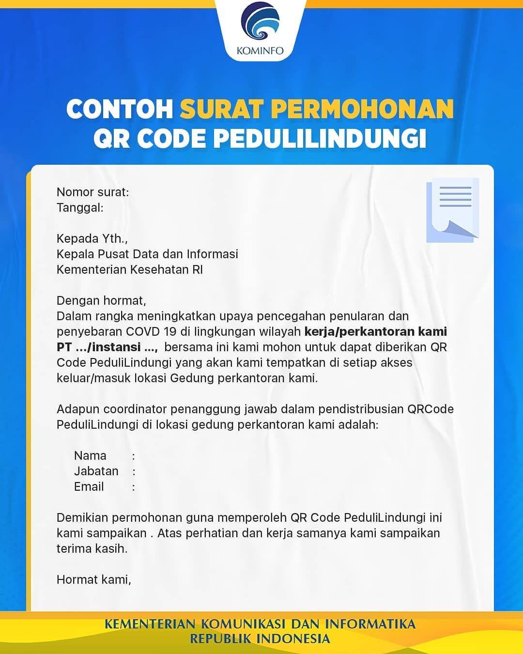 Contoh surat permohonan QR Code PeduliLindungi