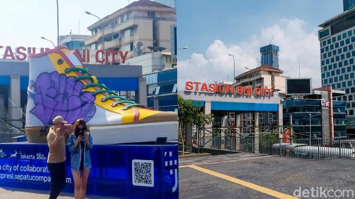 Tugu sepatu yang berada di Jalan Sudirman, Jakarta, sempat menjadi sasaran vandalisme. Kini, instalasi tersebut tampak menghilang dari kawasan Sudirman.