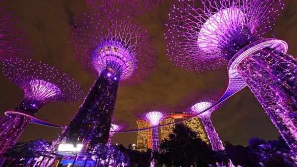 Di masa pandemi seperti saat ini, kerlap-kerlip lampu yang menghiasi kawasan Singapura ini jadi salah satu yang dirindukan para wisatawan. Meski belum bisa melihat langsung, pemandangan Singapura di kala malam yang diabadikan lewat bidikan kamera ini pun bisa menjadi penawar rindu para wisatawan.