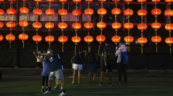 Ini dia dekorasi lampion yang khas di Festival pertengah musim gugur di Hong Kong.