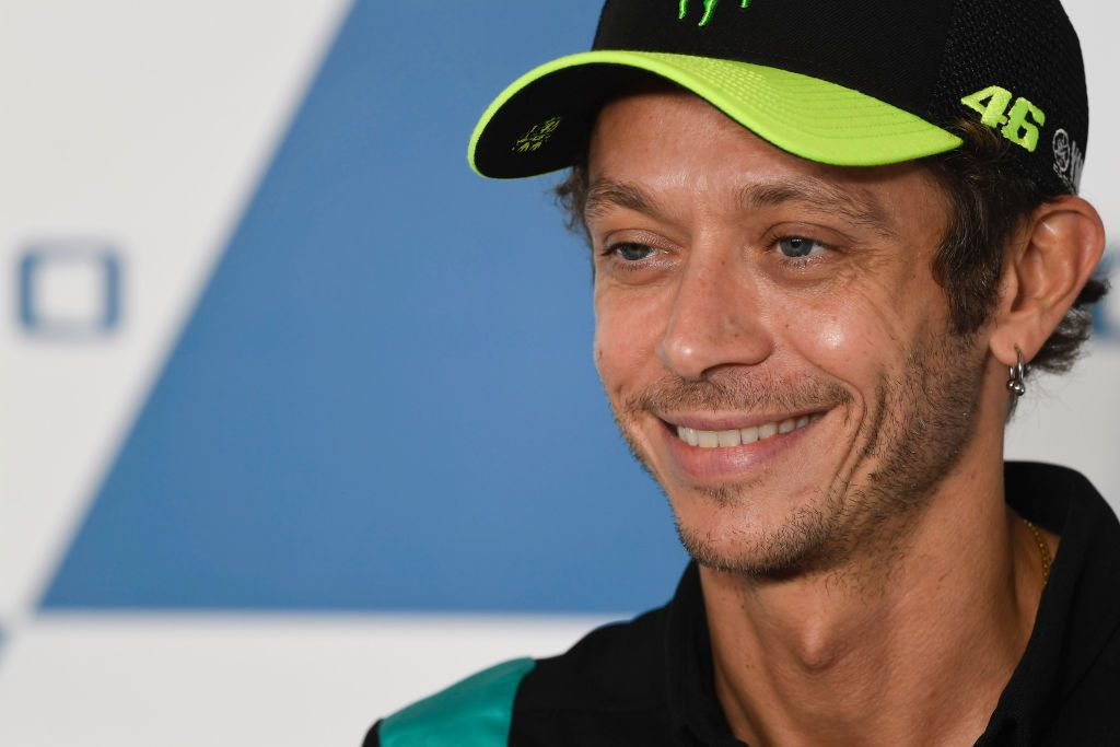 MISANO ADRIATICO, ITALY - SEPTEMBER 16:  Valentino Rossi of Italy and Petronas Yamaha SRT smiles during the press conference pre-event during the MotoGP Of San Marino - Previews at Misano World Circuit on September 16, 2021 in Misano Adriatico, Italy. (Photo by Mirco Lazzari gp/Getty Images)