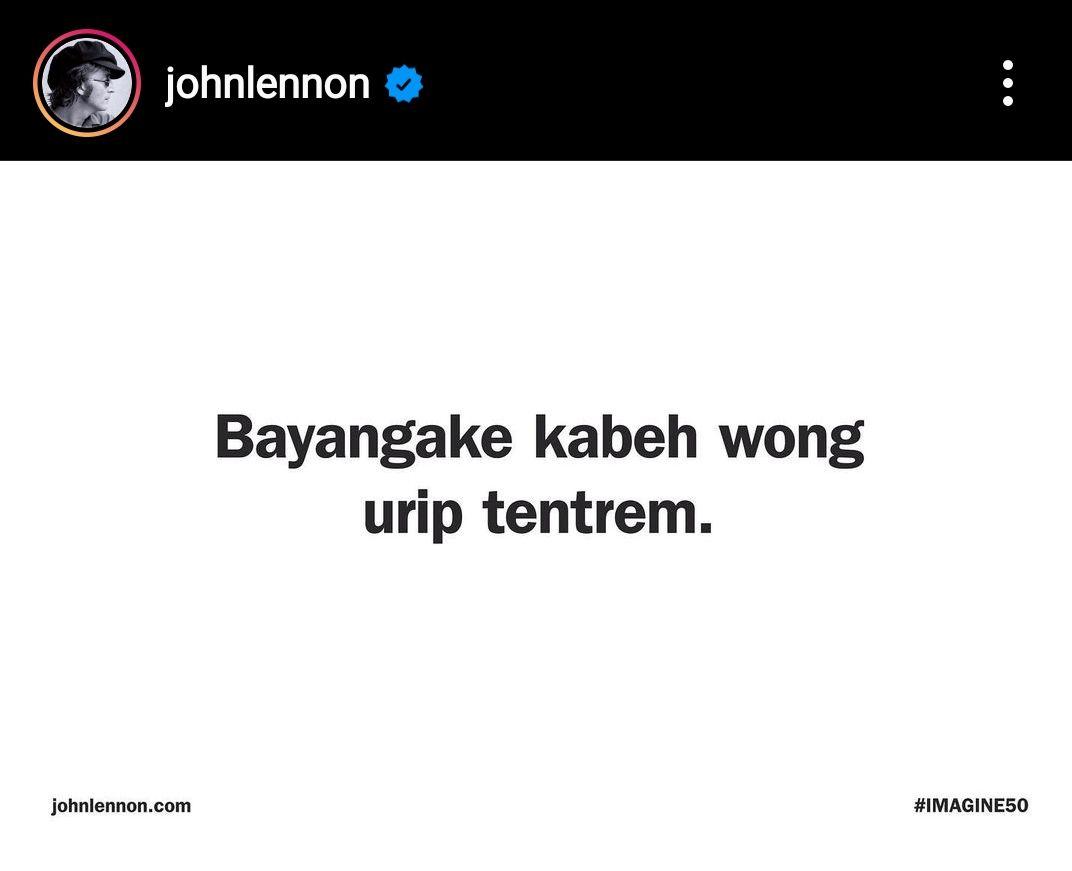 Bahasa Jawa di akun instagram johnlennon