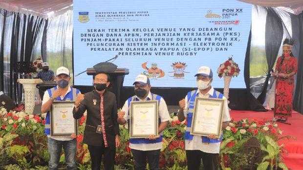 Panitia Besar Pekan Olahraga Nasional (PB PON) memastikan seluruh venue cabang olahraga PON Papua sudah rampung. Termasuk venue rugbi yang semula ditargetkan selesai akhir September ini.