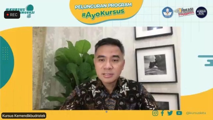 Wikan Sakarinto dalam acara peluncuran Program Ayo Kursus, Rabu (22/9/2021).