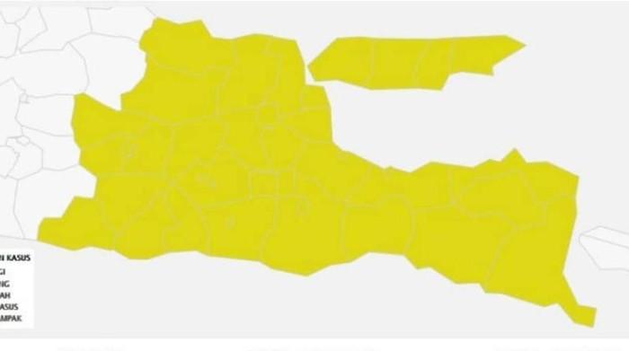 Jatim terbebas dari zona oranye COVID-19. Saat ini, 38 kabupaten/kota di Jawa Timur masuk kategori zona kuning COVID-19.