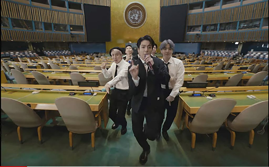 In this image made from UNTV video, BTS performs