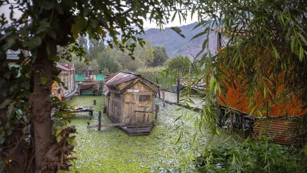 Menurut pemilik rumah perahu, sekitar 900 rumah perahu hanya memberi dampak sebagian kecil polusi di danau. (Mukhtar Khan/AP)