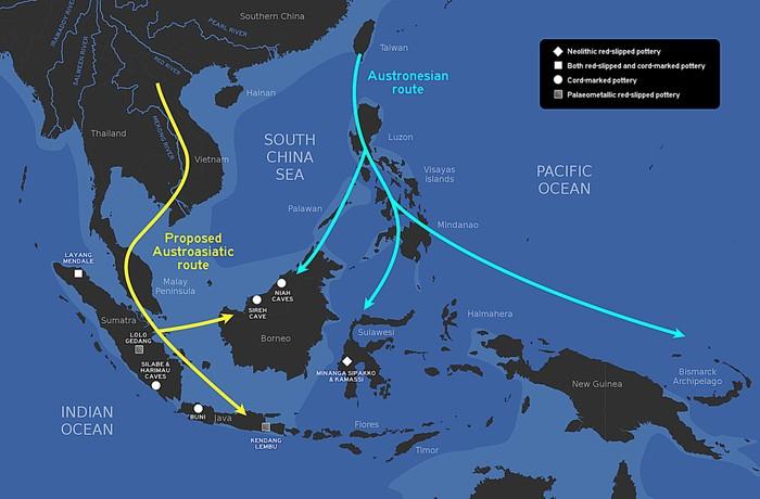 Jalur Austroasiatik dan jalur Austronesia.