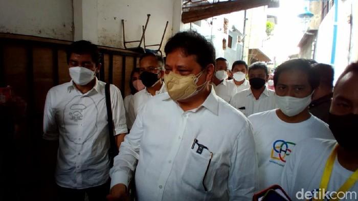 Menko Perekonomian Airlangga Hartarto di Solo, Kamis (23/9/2021).
